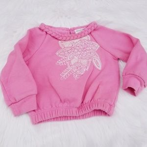 oshkosh//light pink sweater with flower patch 12mo
